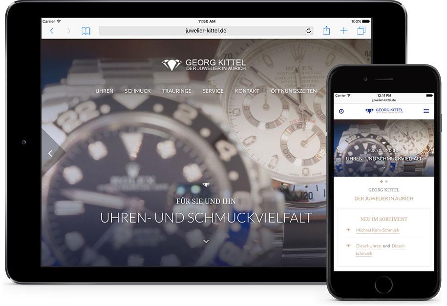 Juwelier Kittel auf mobile Devices, wie Smartphone und Tablet