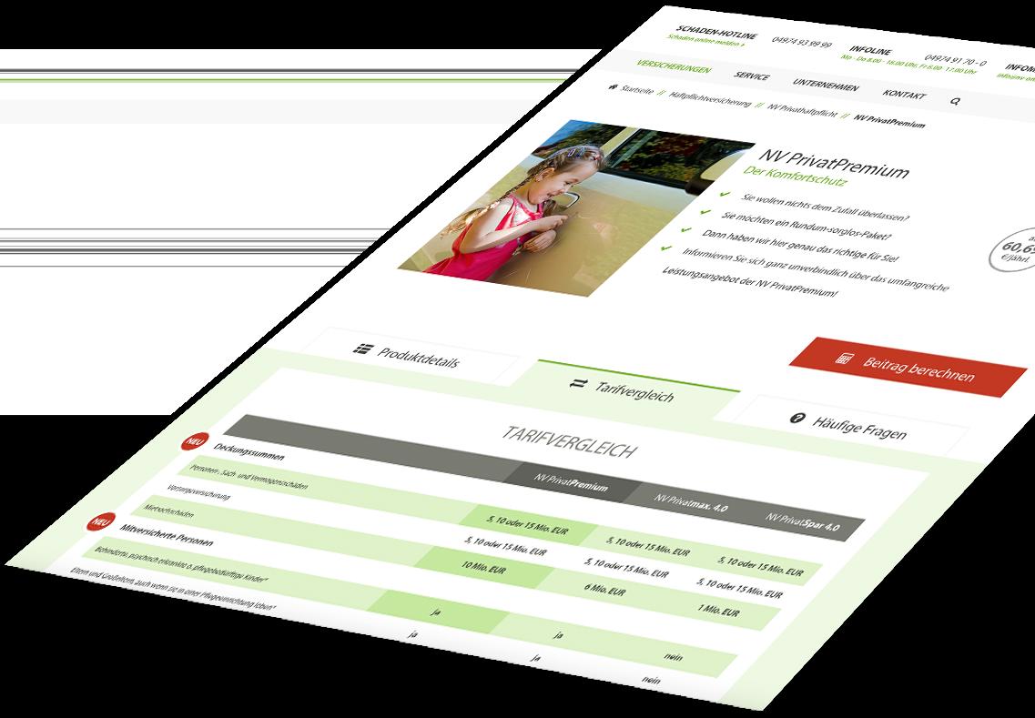 Privatversicherung im Responsive Webdesign von NV-Versicherungen