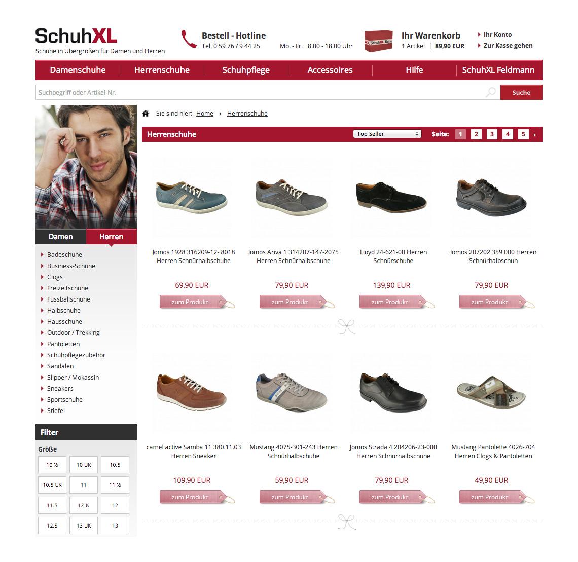 SchuhXL Bewertungsfunktion